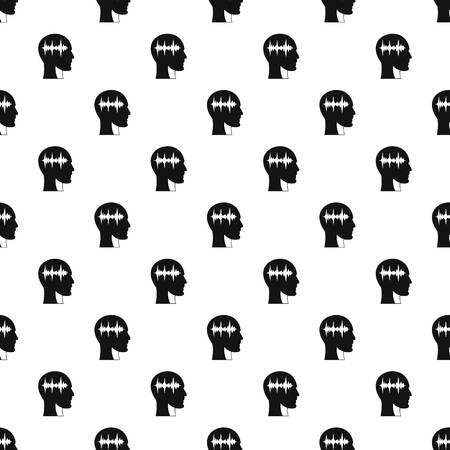 man profile: Sound wave pattern seamless in simple style vector illustration