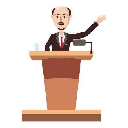 Speaker man icon, cartoon style