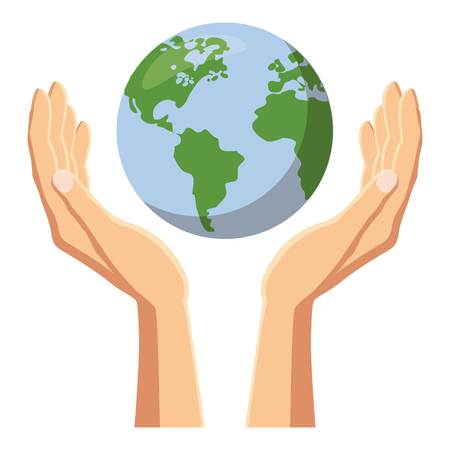 Hands holding globe earth icon, cartoon style