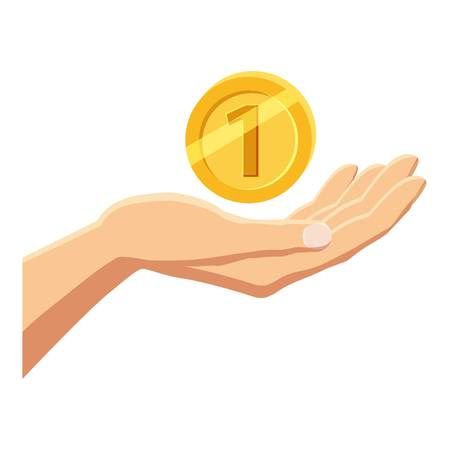 Hand holding gold coin icon, cartoon style Illustration