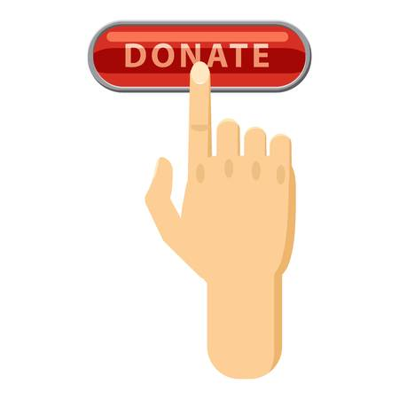 Donate button pressed by hand icon, cartoon style Illustration
