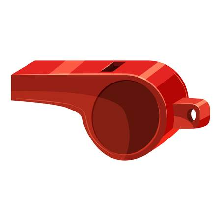 Red sport whistle icon, cartoon style