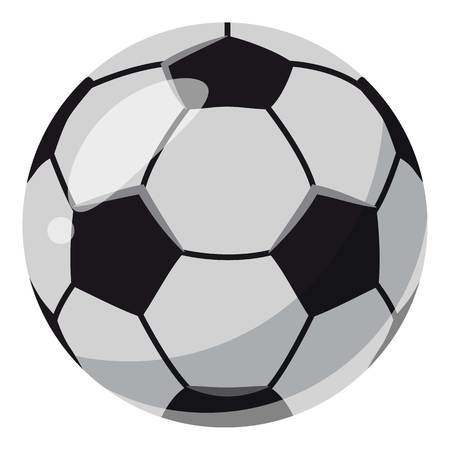 Leather soccer ball icon, cartoon style
