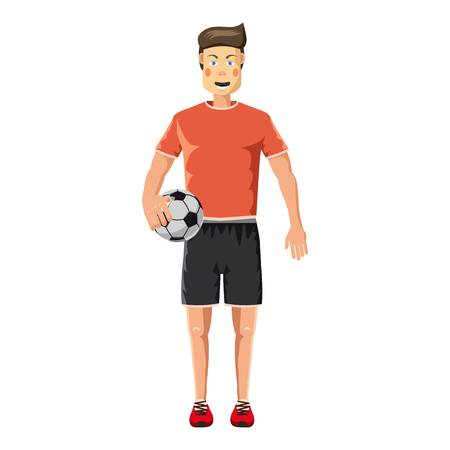 jersey: Soccer player standing with soccer ball icon Illustration
