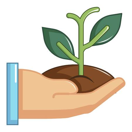 Hand holding green sprout icon, cartoon style Illustration