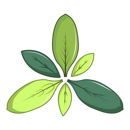 Green leaves icon, cartoon style Illustration