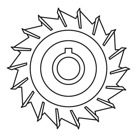 dangerous work: Circular saw disk icon, outline style