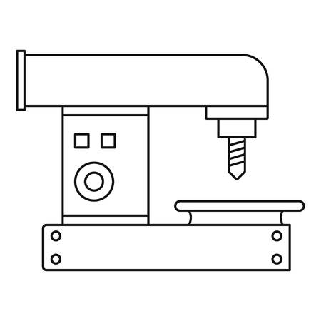 Drilling machine icon, outline style 矢量图像