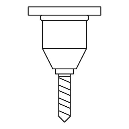 hole in one: Drill bit icon, outline style