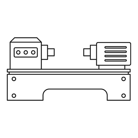 iron: Lathe machine icon, outline style Illustration
