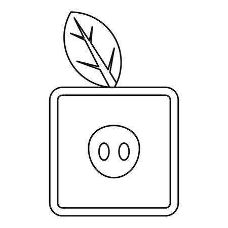 apple gmo: Square apple icon, outline style