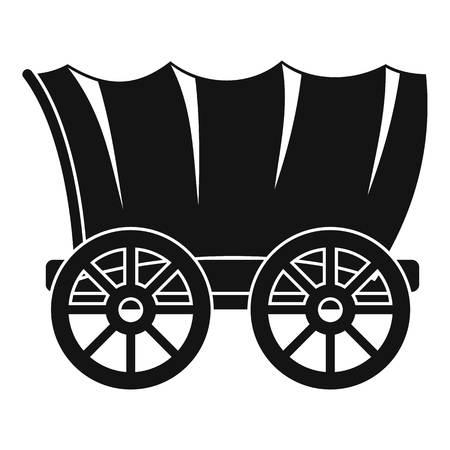Oude westerse wagen pictogram, eenvoudige stijl
