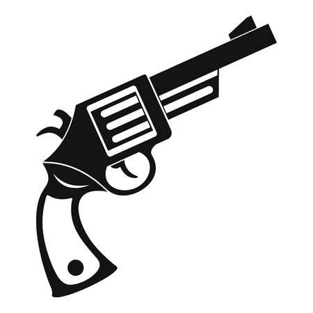 dangerous: Vintage revolver icon, simple style