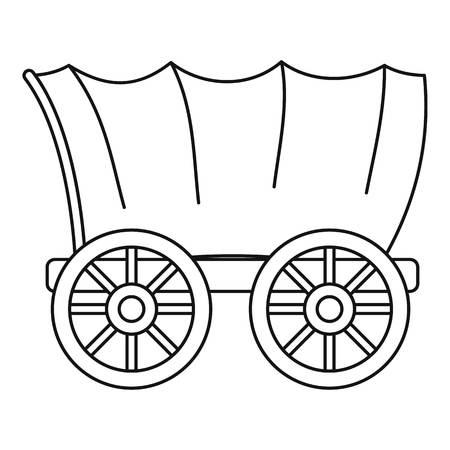 Antiguo icono de vagón cubierto occidental, estilo de contorno Foto de archivo - 76646411