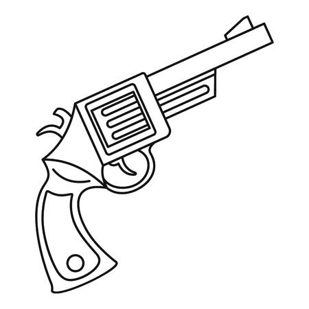 Vintage revolver icon, outline style