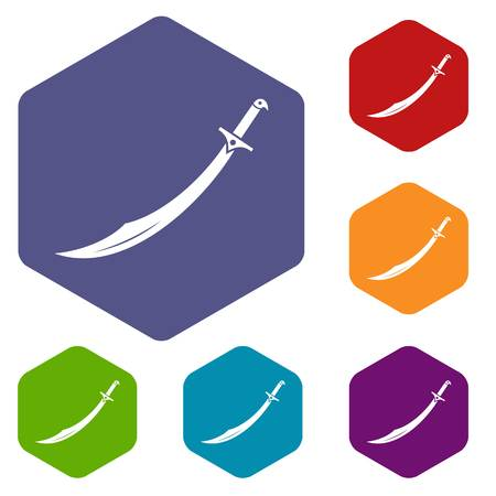Scimitar sword icons set hexagon Illustration