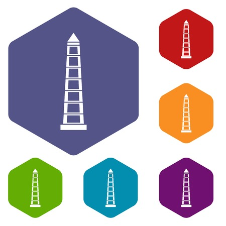 obelisco: Obelisco of Buenos Aires icons set hexagon Illustration