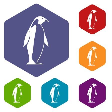 obelisco: King penguin icons set hexagon