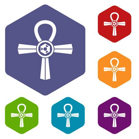 pagan cross: Egypt Ankh symbol icons set hexagon Illustration