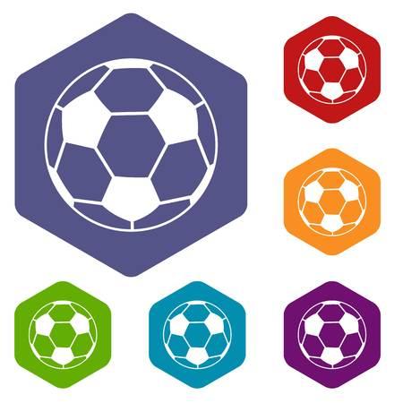 obelisco: Soccer ball icons set hexagon Illustration