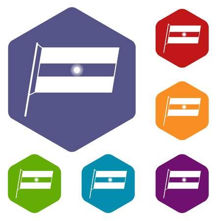 Flag of Argentina icons set hexagon