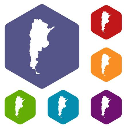map bolivia: Mapa, Argentina, iconos, Conjunto, hexágono