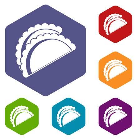 homemade bread: Empanadas de pollo icons set hexagon
