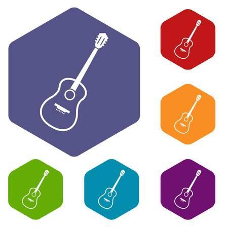 artisanry: Charango icons set hexagon