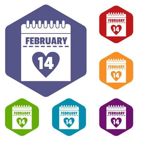 office romance: Valentines day calendar icons set hexagon