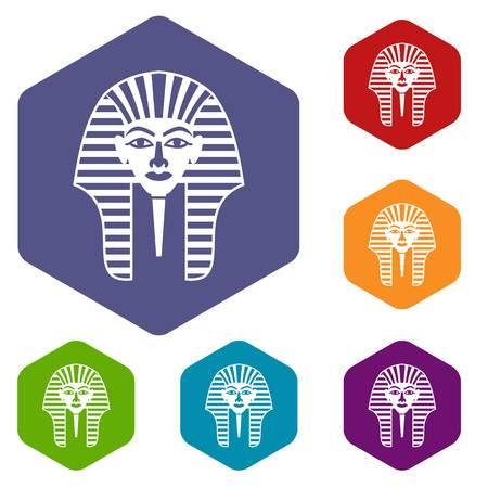 tutankhamen: Tutankhamen mask icons set hexagon