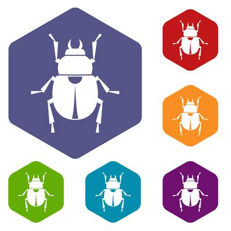 scarab: Scarab icons set hexagon Illustration