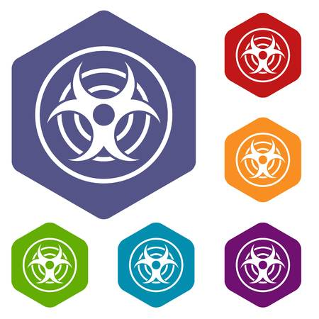 chemical weapon symbol: Sign of biological threat icons set hexagon isolated vector illustration