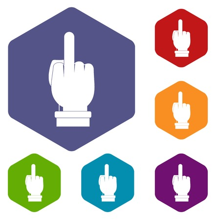 Middle finger hand sign icons set hexagon isolated vector illustration