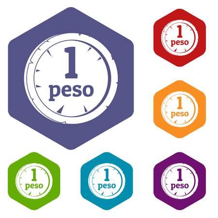 Peso icons set hexagon isolated vector illustration