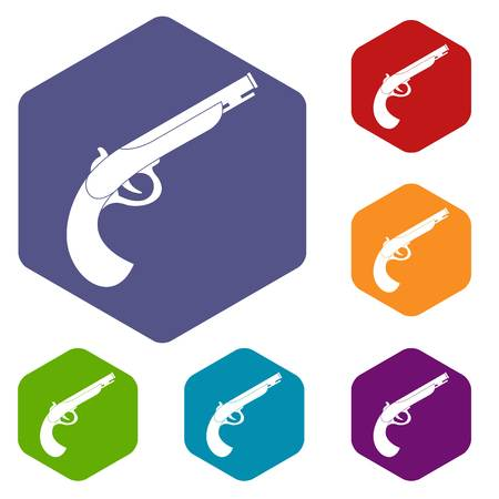 Gun icons set hexagon isolated vector illustration