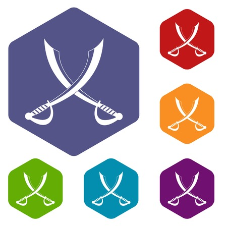 gripping: Crossed sabers icons set hexagon isolated vector illustration