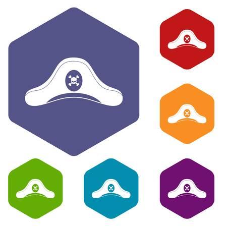 Pirate hat icons set hexagon Illustration