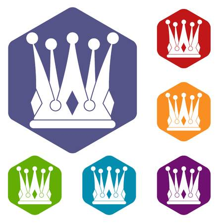 Kingly crown icons set hexagon