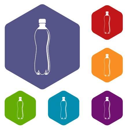 Water bottle icons set hexagon
