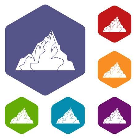 antarctica: Iceberg icons set hexagon