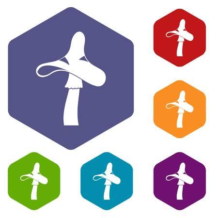 Toxic mushroom icons set hexagon