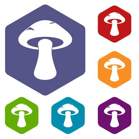 Tubular mushroom icons set hexagon