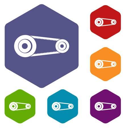 timing belt: Mechanic belt icons set hexagon isolated vector illustration
