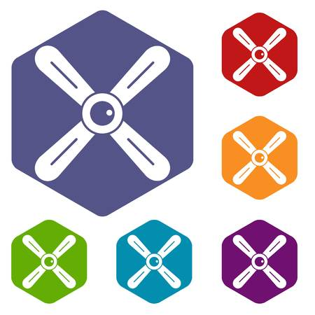 Propeller icons set hexagon isolated vector illustration