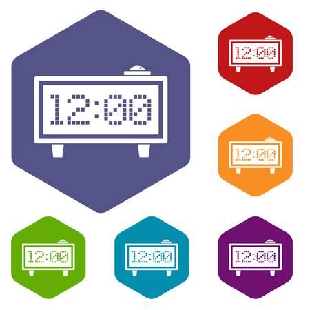 Alarm clock icons set hexagon isolated vector illustration