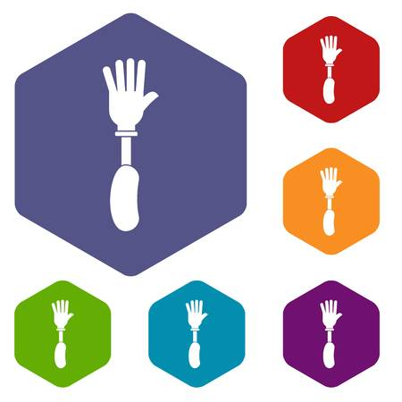 Prosthesis hand icons set hexagon isolated vector illustration