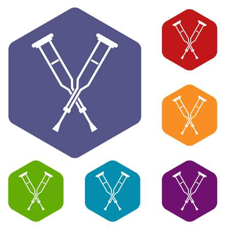 accidental: Crutches icons set hexagon isolated vector illustration