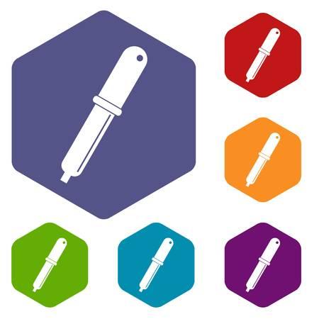 Color picker pipette icons set hexagon Illustration