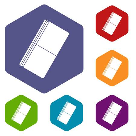 Eraser icons set hexagon isolated vector illustration