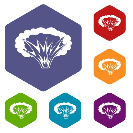 atomic symbol: Atomical explosion icons set hexagon isolated vector illustration Illustration